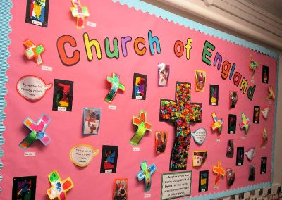 Reception's display on the Church of England