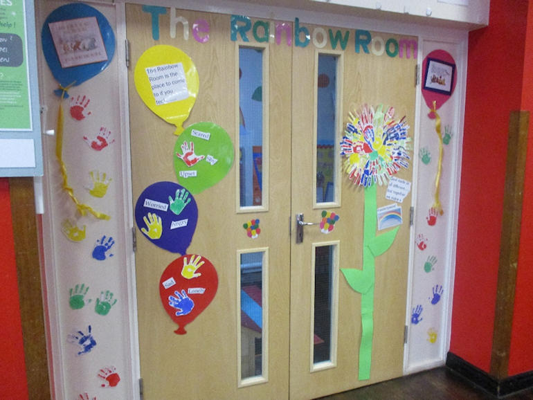 The doorway to our Rainbow Room