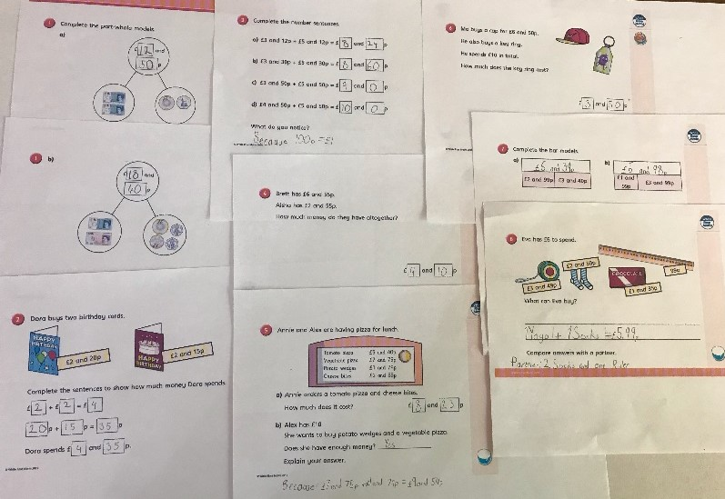 Maths work completed by a Y4 student during lock down.