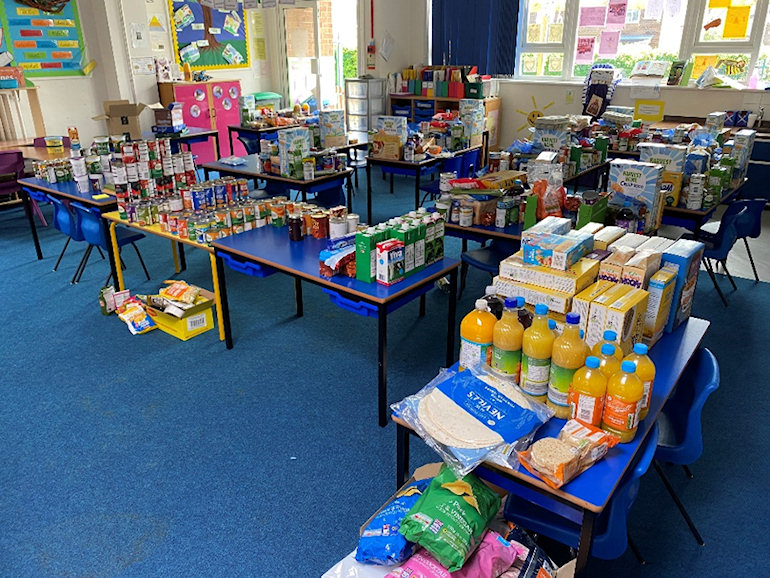 School food bank showing lots of grocery items