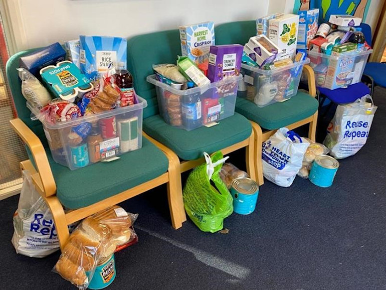 Food bank supplies for a family for a week