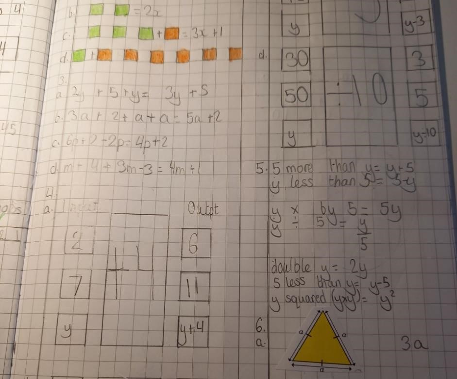 Some algebra work from our maths lessons