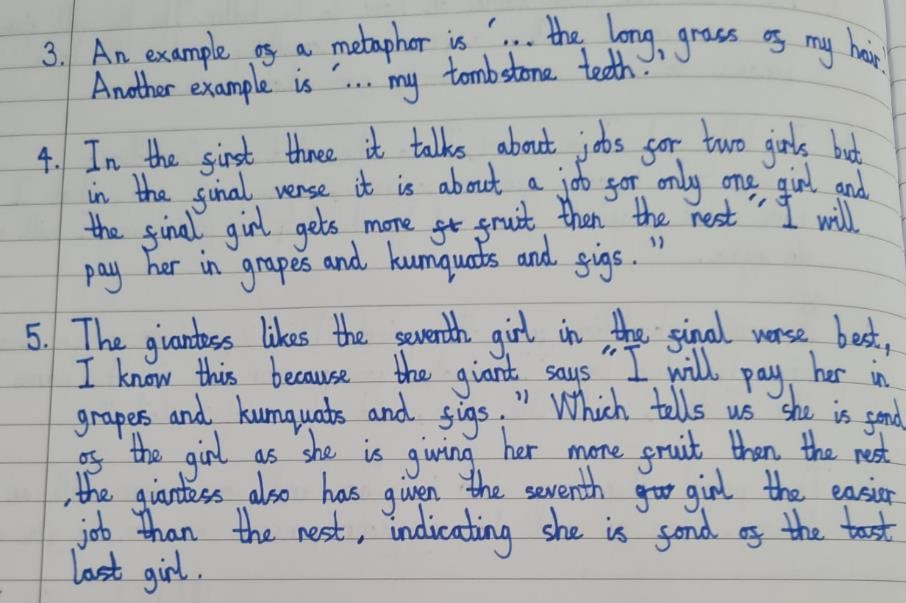 Written work from one of our comprehension tasks